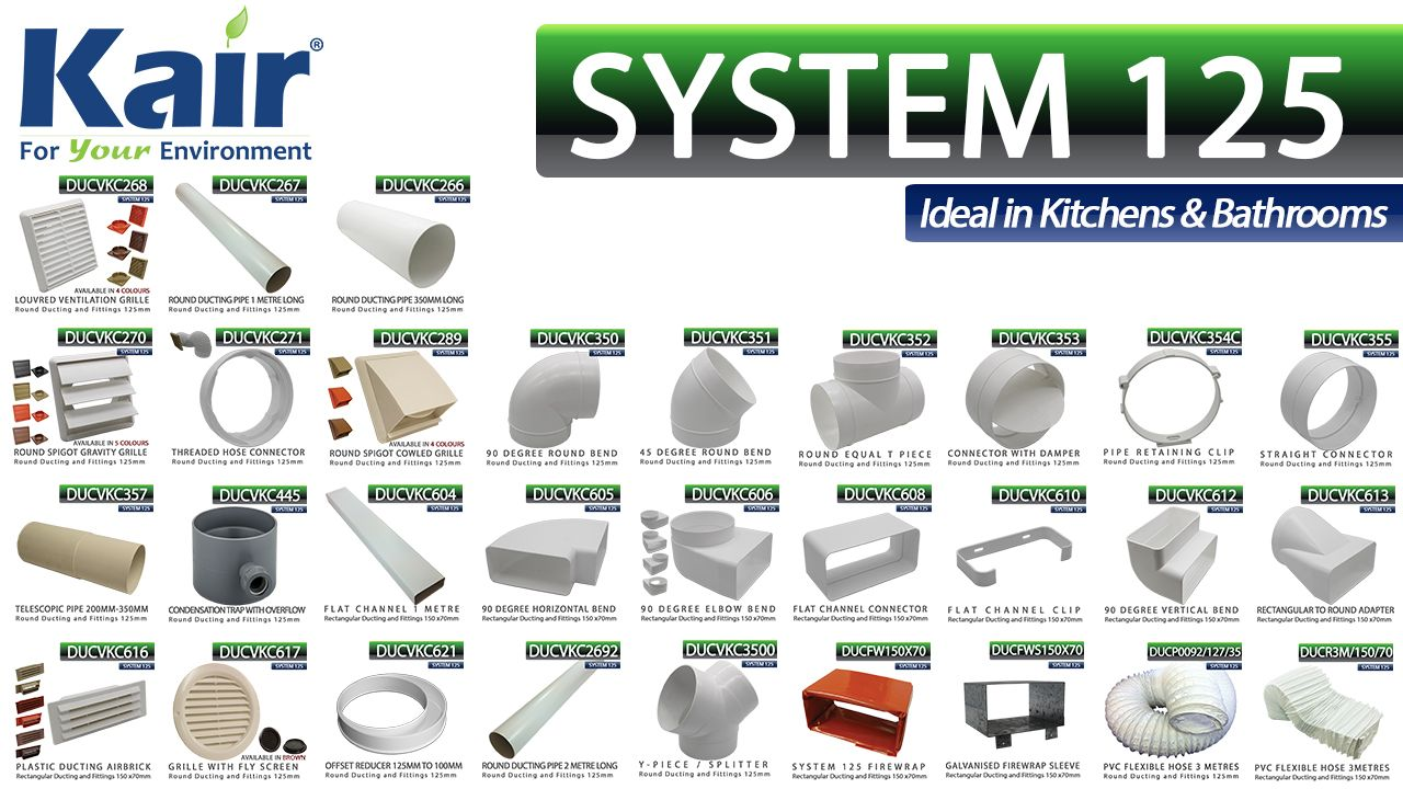 I Sells Co Uk Supplies 125mm 5 Inch And 150mm X 70mm Ducting In White Pvc Plastic Other Special Duct Materials And Finishes A Duct Work System Wall Outlets