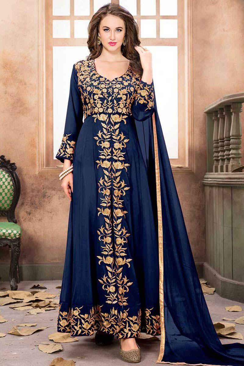adc8ba34e3 Clothes Navy Blue Faux Georgette Anarkali Suit With Dupatta - Dmv15329