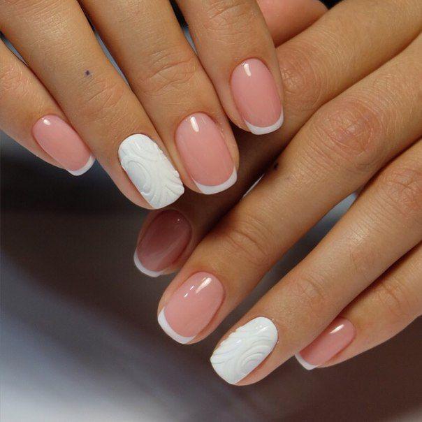 Маникюр бело розовый матовый