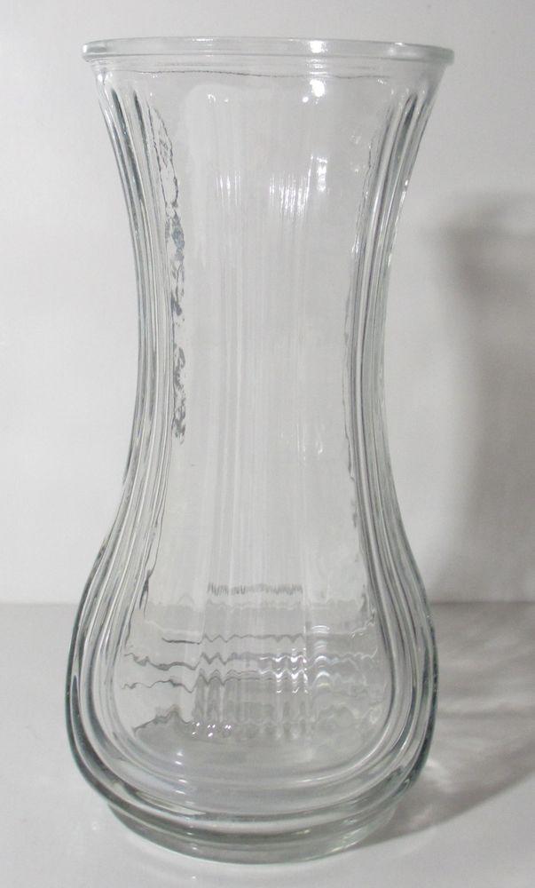 Hoosier Glass Traditional Ribbed Clear Glass Vase Flower Vase