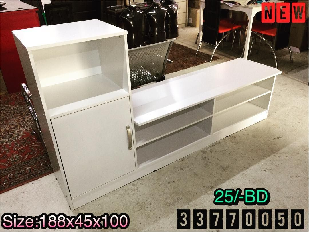 For Sale Tv Table Size 180x45x100 Modern White Color New Price 25 Bd للبيع طاولة تلفزيون مودرن لون ابيض جديد ال Storage Bench Home Decor Furniture