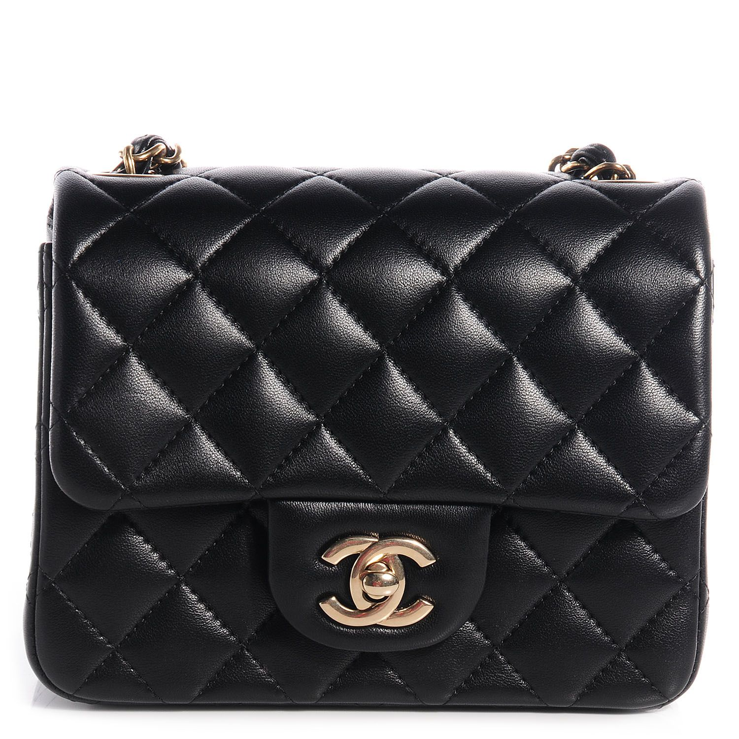 Chanel Lambskin Quilted Mini Square Flap Black Chanel Mini Square Chanel Mini Flap Bag Chanel Mini Flap