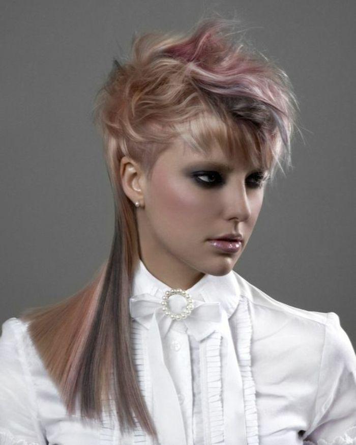 Idée Coiffure : coupe asymétrique cheveux courts devant et longs derrière avec balayage carame ...