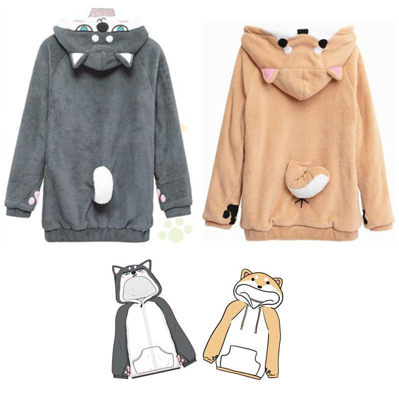 Wow Doge Cute Cat Ear Cropped Hoodie Sweatshirt for Women Teen Girls