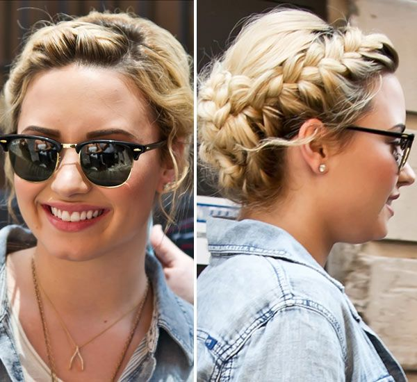 Demi Lovato Milk Maid Braids