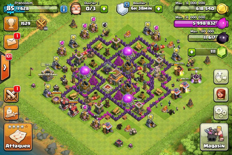 Mon village sur clash of clans je suis plein delixir