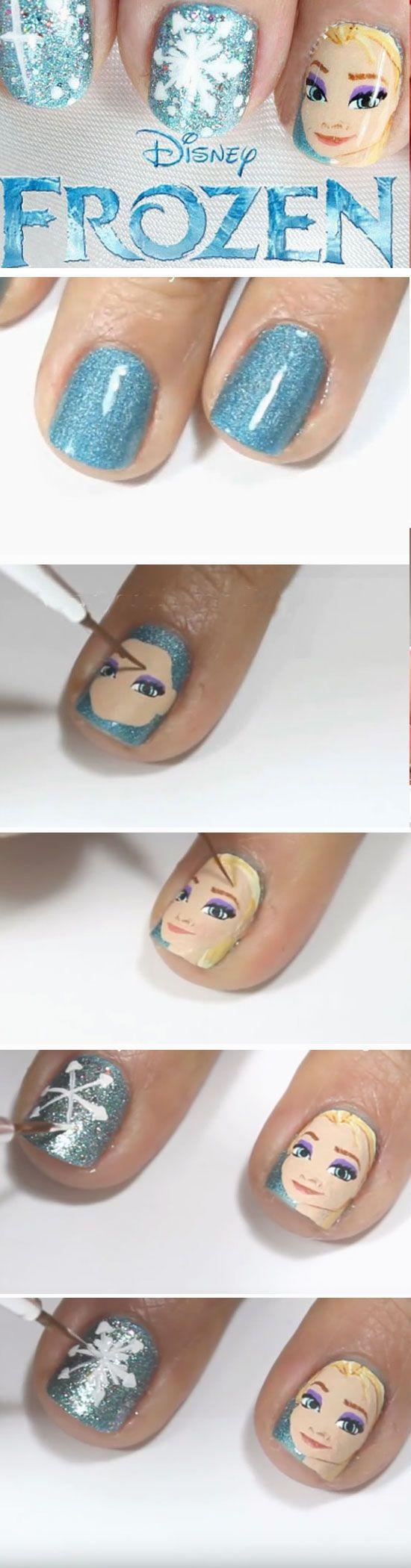 20+ DIY Christmas Nail Art Ideas for Short Nails | Frozen nail art ...