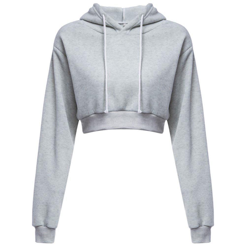 USA Womens Crop Tops Zip up Hooded Sweatshirt Ladies Long Sleeve Cropped Hoodies
