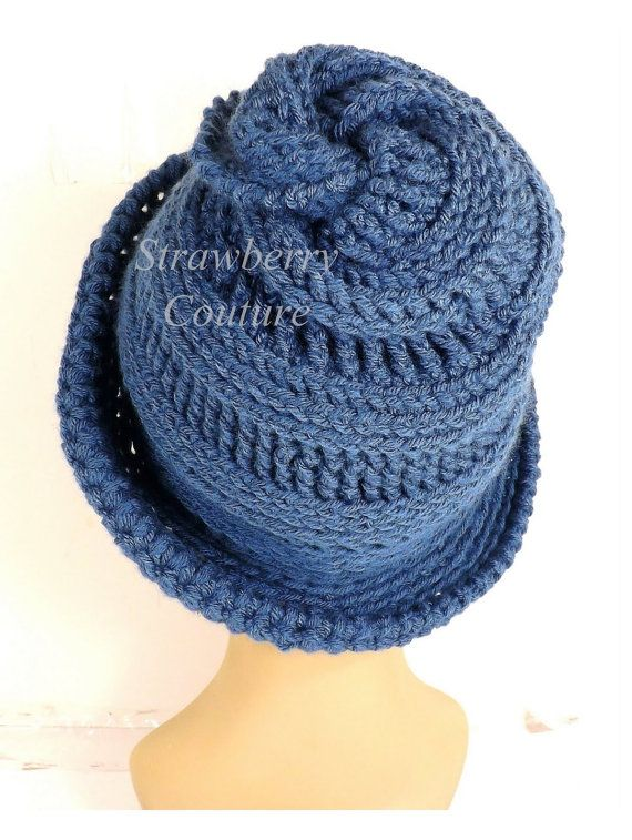 Crochet Hat, Womens Hat Trendy, Dark Country Blue Hat, 60th Birthday ...