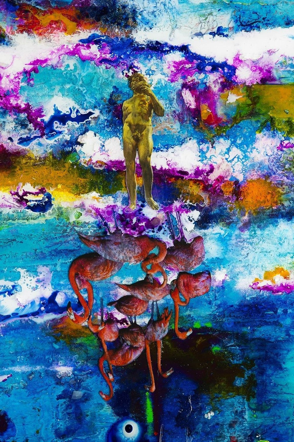 God and the Flamingos. A print from the Ultra World 1 painting. 11.5x14.5 inches. jacsfalconer4u@gmail.com