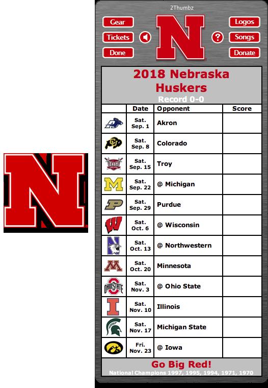 Get your 2018 Nebraska Huskers Football Schedule Dashboard
