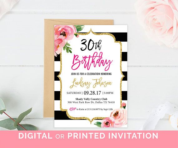 Kate Birthday Party Invitation Floral Black And White Striped - Black and white 30th birthday party invitations
