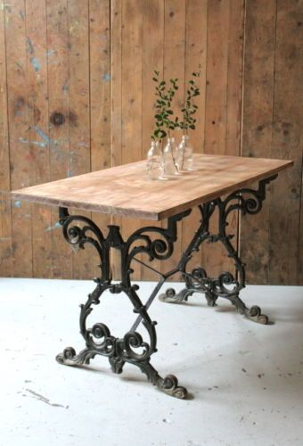 Cast Iron Based Pub Table With Worn Wooden Top From The Joiners