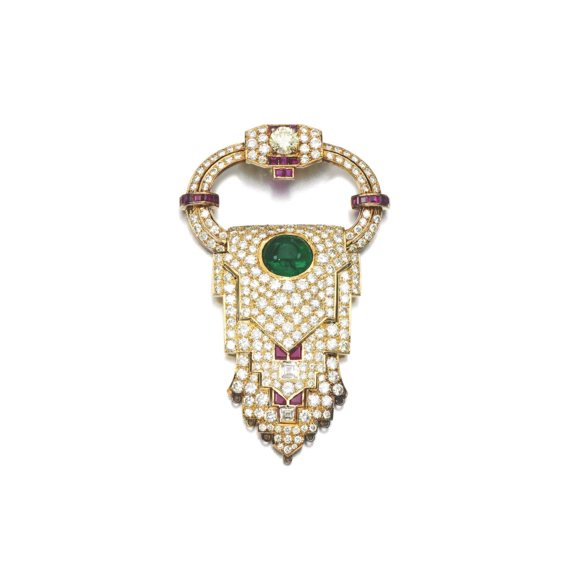 Emerald ruby and diamond brooch pendant pinterest emeralds