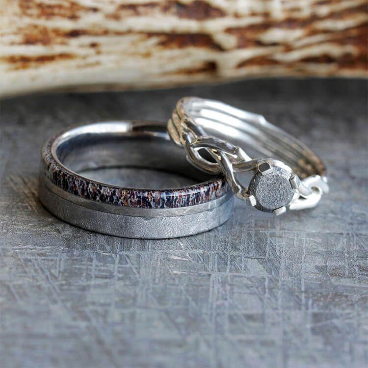Nature Inspired Meteorite Wedding Ring Set Antler Wedding Band And