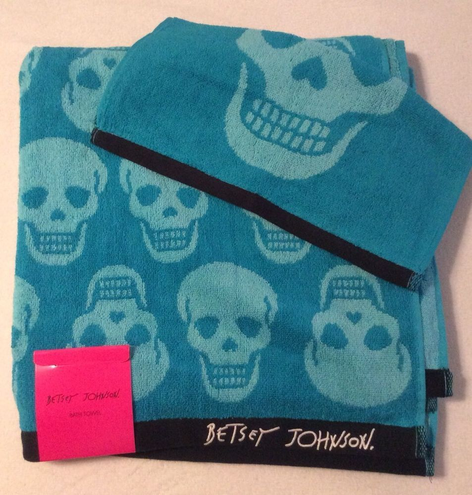 Betsey Johnson Aqua Skull Towel Set NWT #BetseyJohnson | Ebay Items ...
