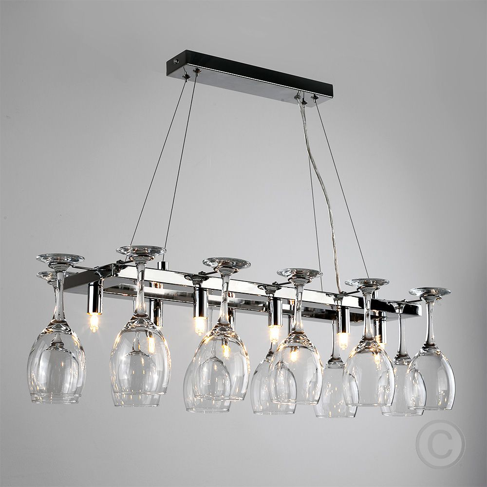 Modern Chrome Wine Glass Chandelier Suspended Way Ceiling Lamp - Chrome kitchen ceiling lights