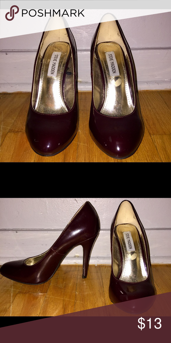 Steve Madden heels Steve Madden heels. Bought them and walked around the house with them 🙃 Dark burgundy color Steve Madden Shoes Heels