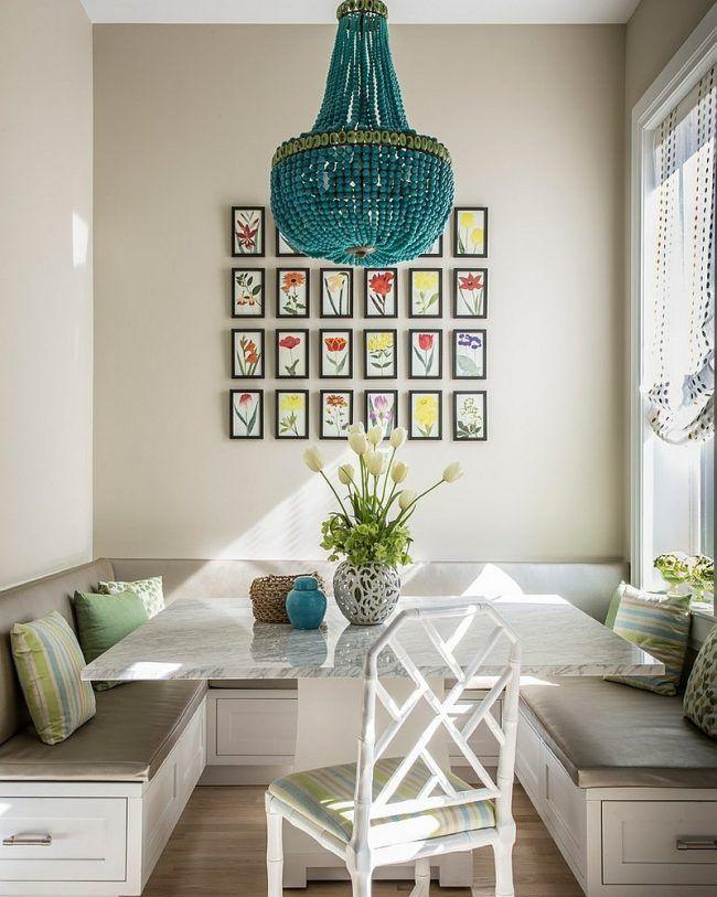 sitzecke in der küche hell einrichtung weiss grau marmor tisch - wandbilder f r die k che