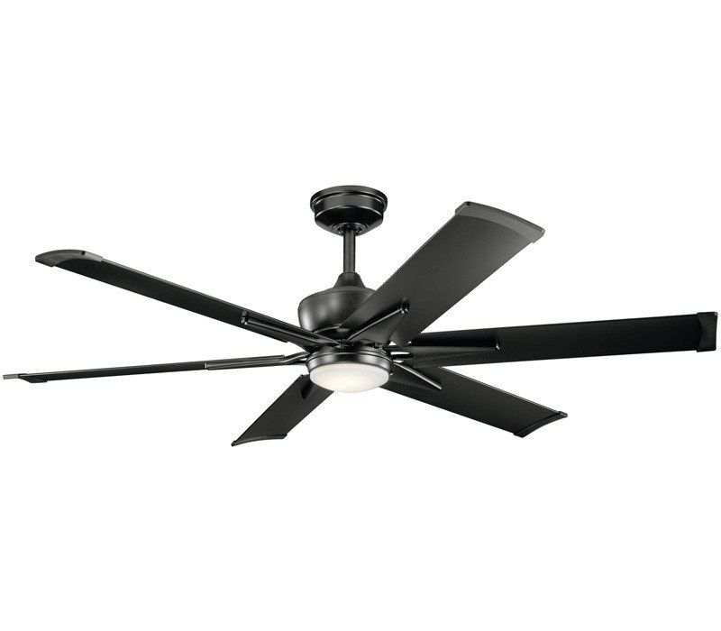 Kichler 300301sbk Szeplo Ii 80 Outdoor High Airflow Ceiling Fan With Led Light And Wall Control Satin Black Ceiling Fan Black Ceiling Fan Ceiling