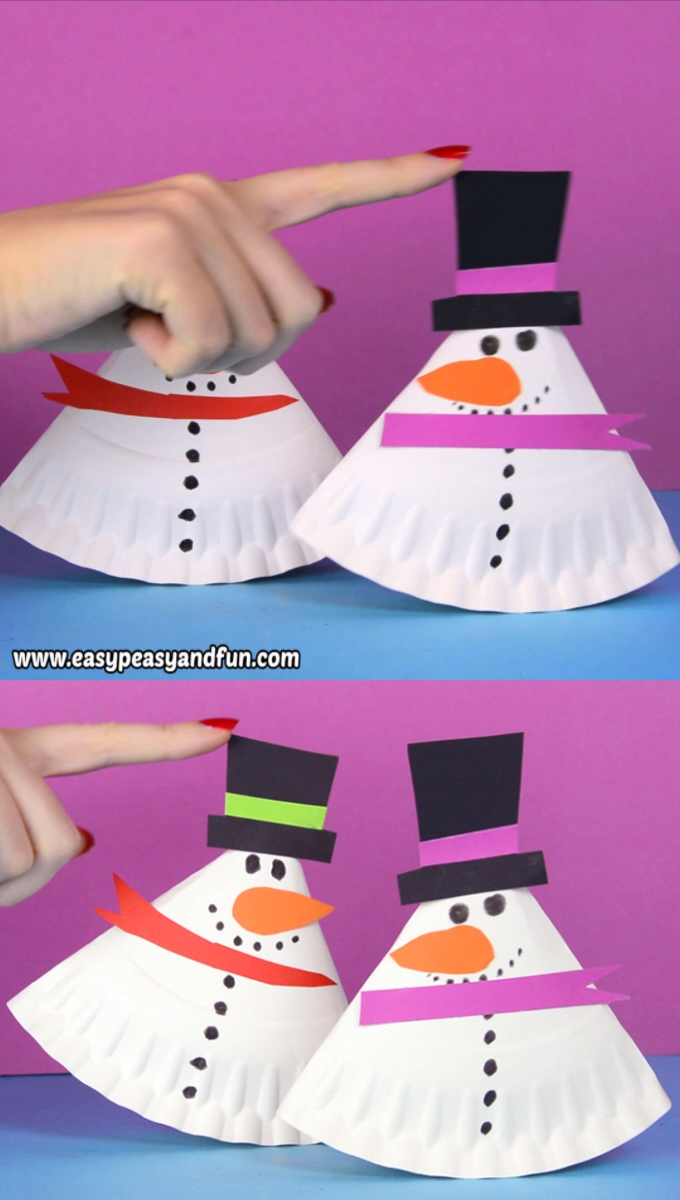 Rocking Paper Plate Snowman Craft for Kids #christmascraftsforkidstomake