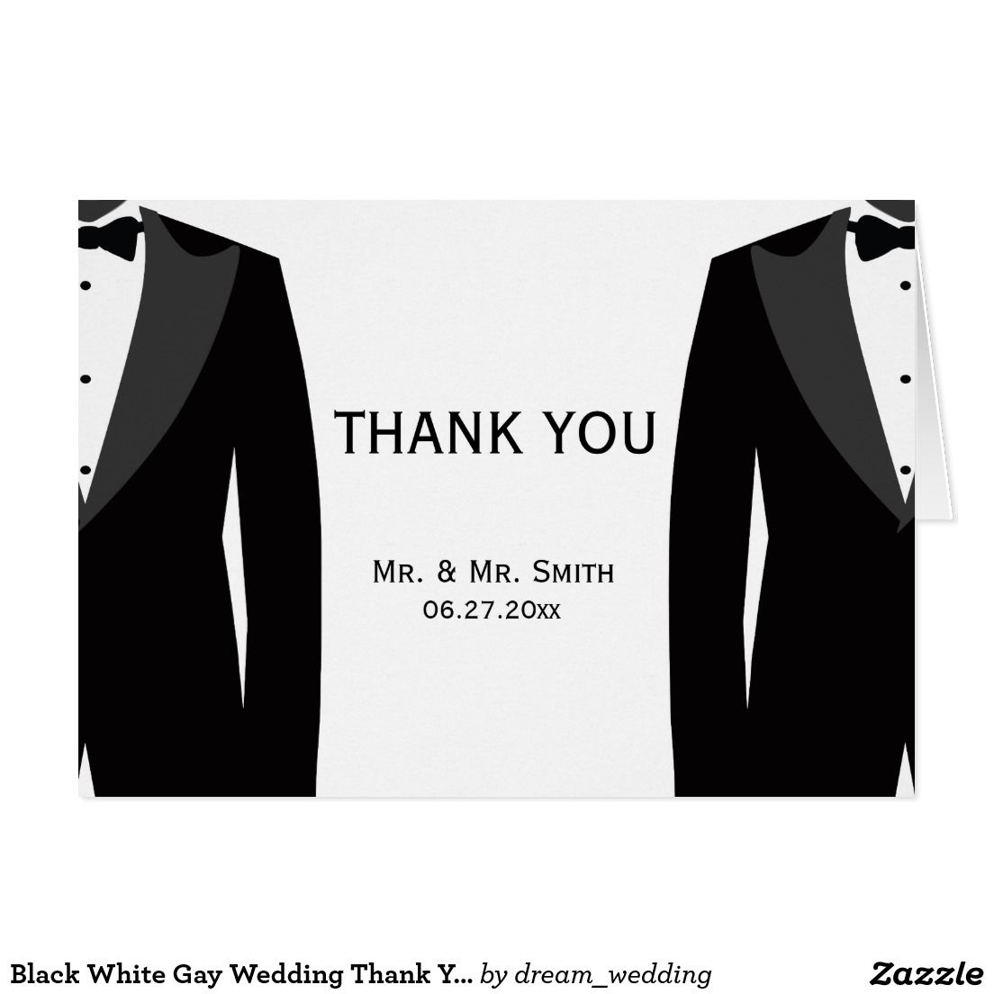Black White Gay Wedding Thank You Greeting Cards