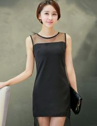 Dazzling Mesh Panel Pure Color Tank Dress For Women
