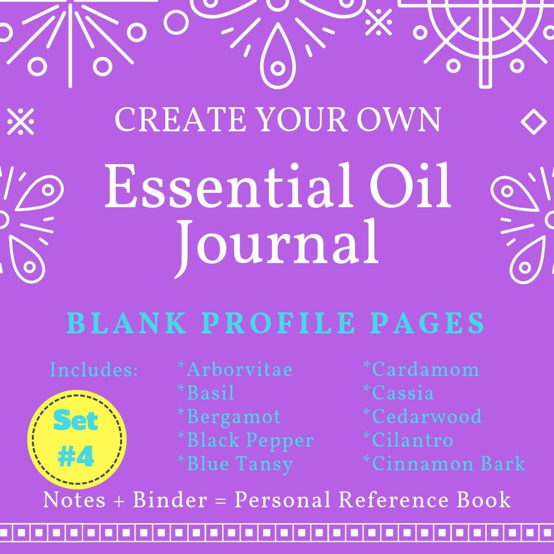 Set 4 Doterra Blank Essential Oil Journal Profile Pages