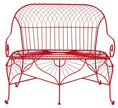 seating, outdoor seating, outdoor, red, garden bench, bench, steel ...