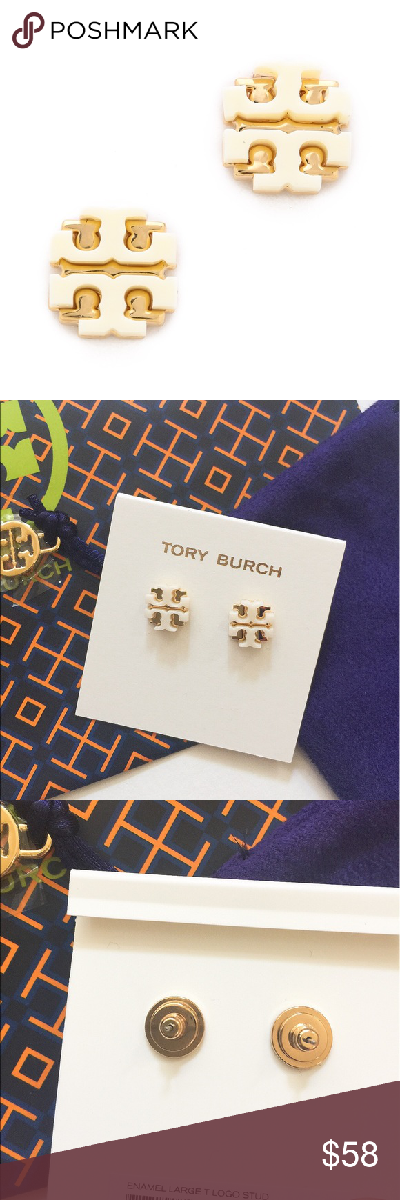 6606e1144330 NWT Tory Burch enamel large T logo stud earrings Brand new with tag. Never  worn