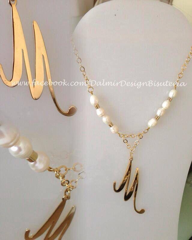 Inicial en plata y ba o de oro perlas de r o cadena en - Bano de oro precio ...
