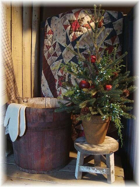 Old fashioned Christmas - little trees around the room