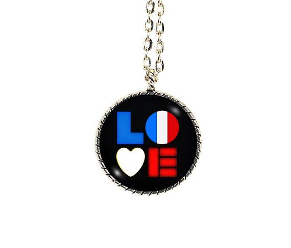 France Necklace, I Love France, France Flag, France Jewelry, French Flag, Love for France, Custom Flag Necklace, I Heart France