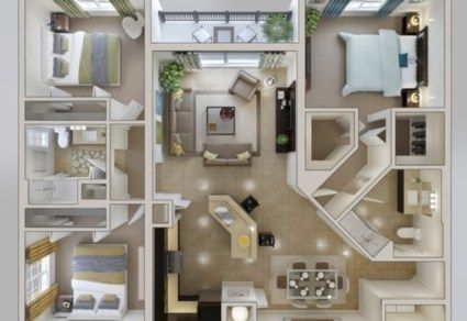 52 Creative Two Bedroom Apartment Plans Ideas Bedroom apartment