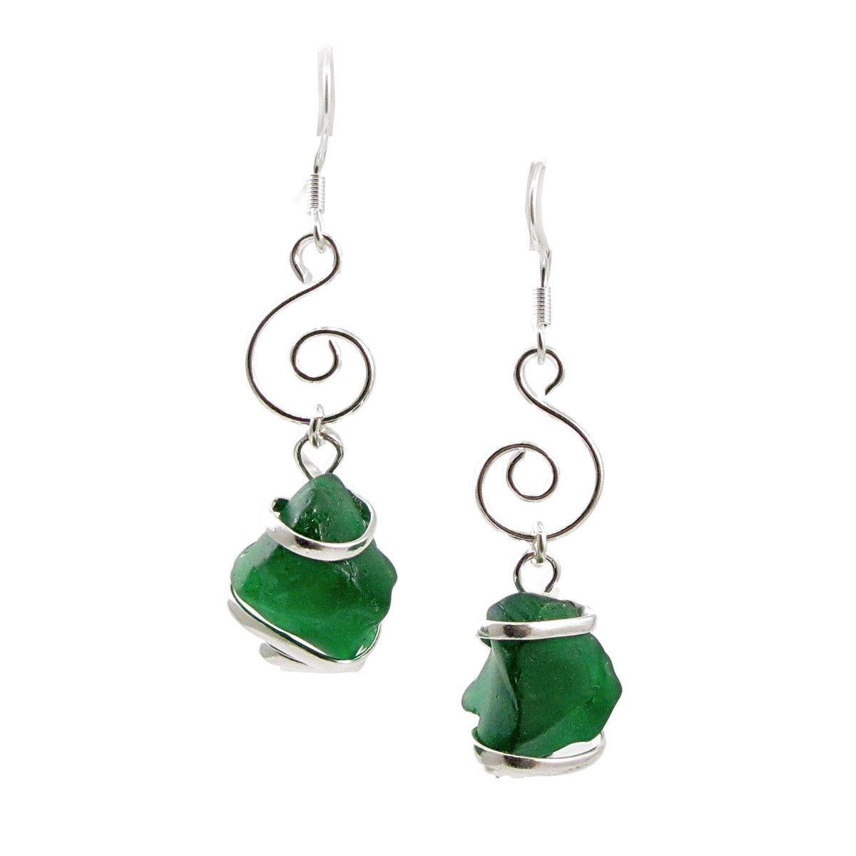 Sea Glass Hand-crafted Wire Wrapped Swirl Drop Earrings Dark Green ...