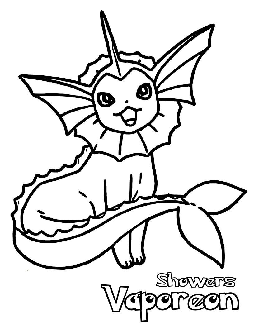 Pokemon Vaporeon | Colouring pages | Pinterest | Pokémon, Pintar y ...