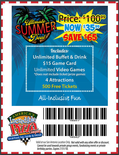 graphic about Incredible Pizza Printable Coupons titled The Great Amazing Pizza Printable Coupon codes and Cost savings