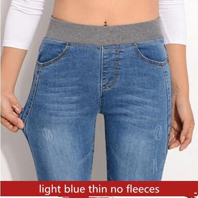 Spring Jeans Women Gold Fleece Inside Warm Jeans Pants Winter Thickening Elastic Waist Pencil Pants Fashion Denim Trousers P8035 Mode Casual Pantalon