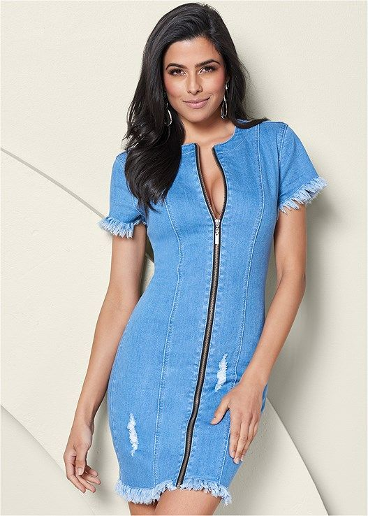c8fedabbdc6152 On-trend distressed denim has never been sexier with fringe trim at the  sleeves and hem and an exposed front zipper.