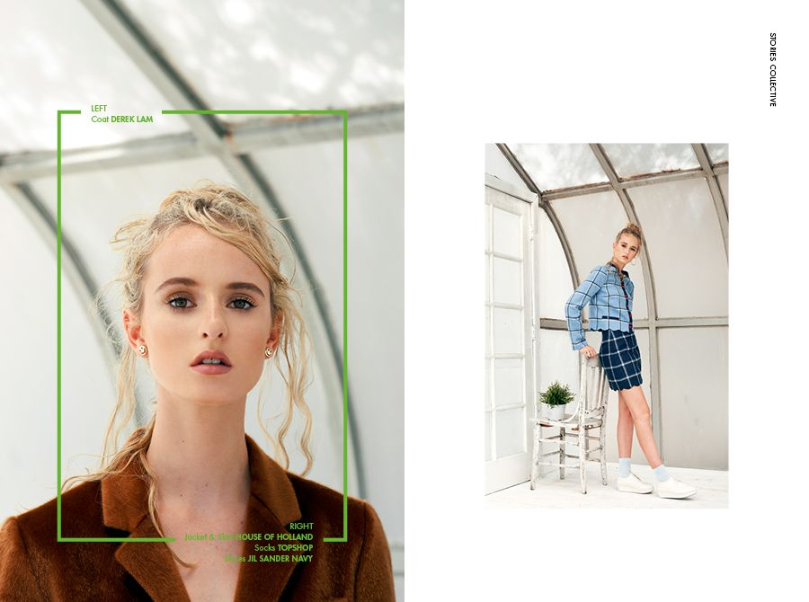 Stories Collective / The Greenhouse / photographer Lucie Hungary / styling Stefanie del Papa / make up Crystal Gossman / hair Heather Blaine / model Gabby at Ford Models / design Sabyie Knudsen #editorial #fashion #layout #design #plants #greenhouse #photography #editoriallayout