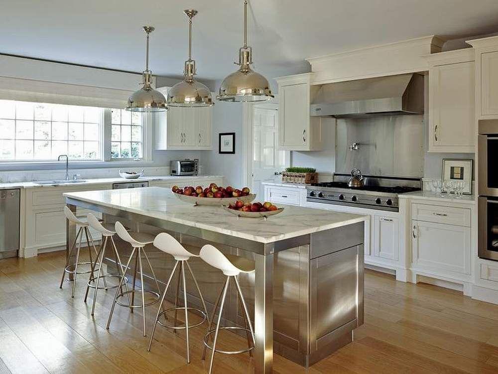 Edelstahl Küche Insel Moderne Backsplash Tabelle Pendelleuchten
