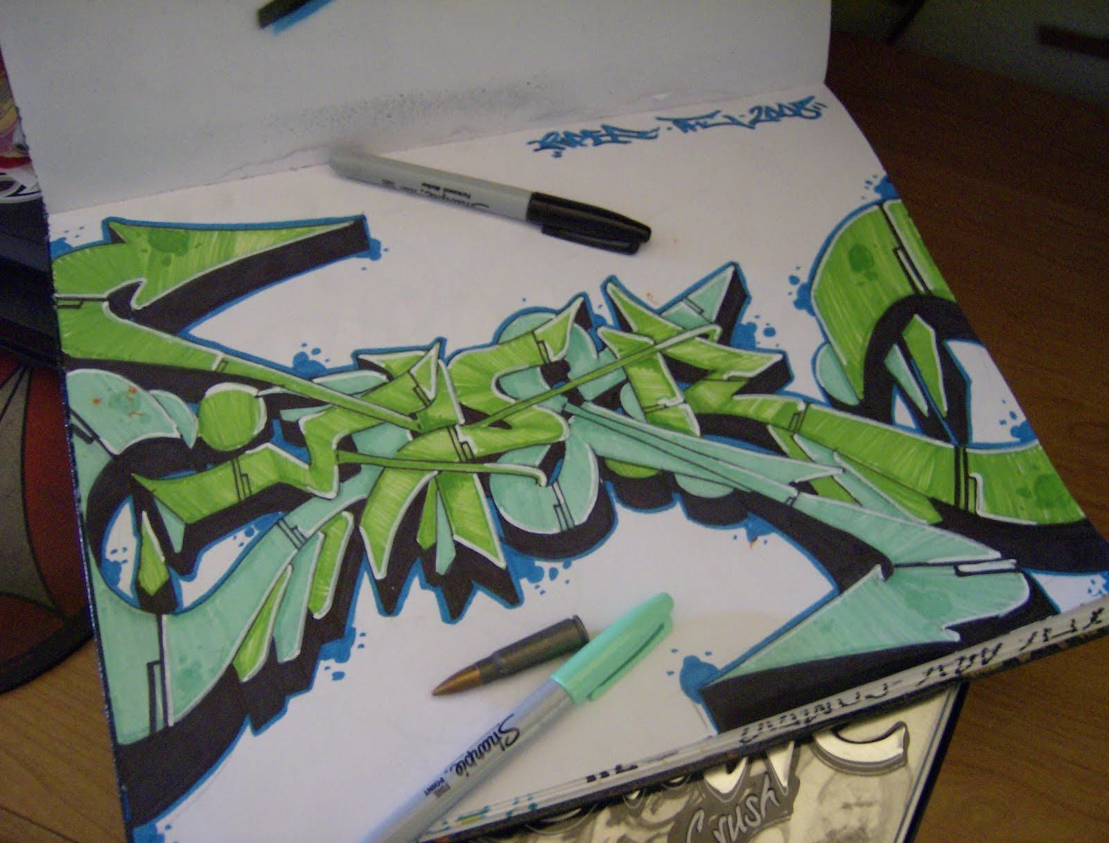 Sketch Viper Graffiti with Wildstyle Character on Paper