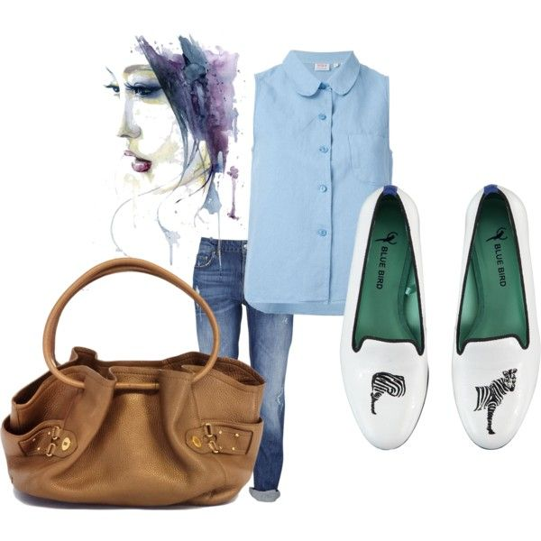 Casual - Boyfriend jeans by lizellejoseph on Polyvore featuring polyvore fashion style Levi's Blue Bird Cole Haan loafers boyfriendjeans levi
