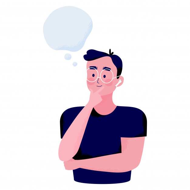 Concept Illustration Of A Young Man Pose By Placing A Finger On The Chin And Smiles Thinking About Something With Text Space Smile Illustration Illustration Mind Map Design