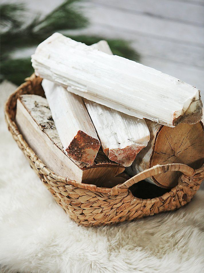 Roost Selenite Crystal Logs at Free People Clothing Boutique