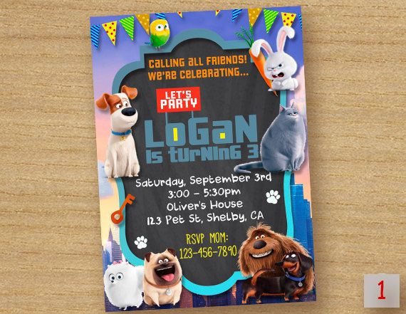 The Secret Life Of Pets Birthday Invitation ---------------------------------------------------------- Personalized their birthday special with this unique Birthday Party Invitation! This listing is for one digital invitation personalized with your event details. You will receive a printable JPG file via email, no physical items will be shipped. You will be responsible for the printing of your invitations.   How it Works (Easy) ▸ Add item(s) to your cart and complete checkout. ▸ After…