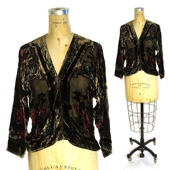 11803a88 Burn Out Velvet Jacket Vintage 90s Cut Silk Velvet Top Bohemian Flapper Blouse  Sheer Beaded Duster W