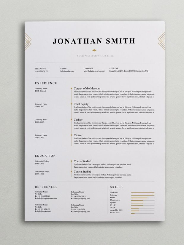 Elegant Resume Template (Word, PSD) Internet fun Pinterest - google docs resume template free