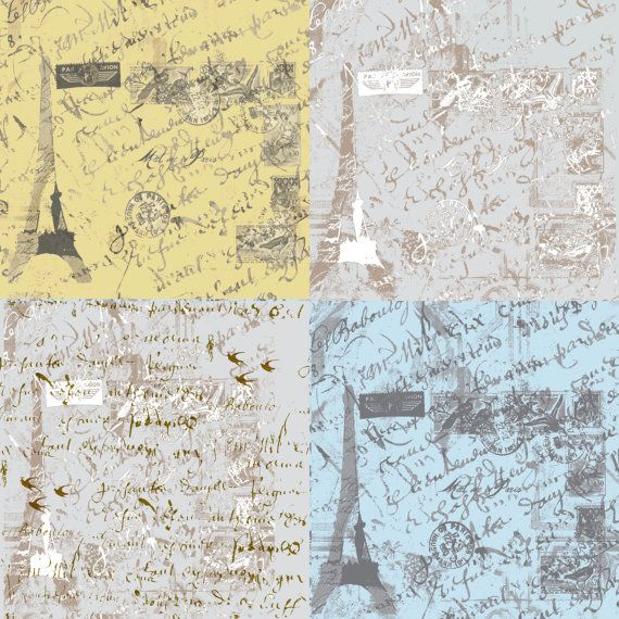 Parisian Script Patchwork fabric by frenchscript on Etsy