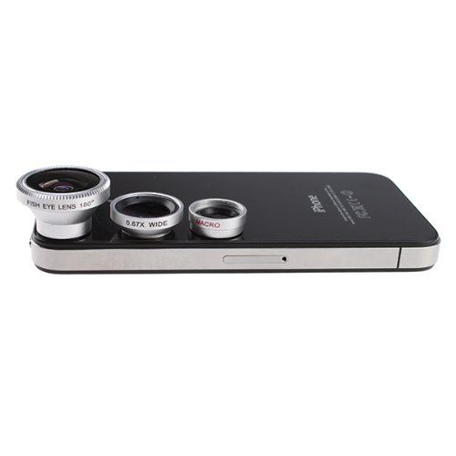 7cb29515315af4 3 in 1 Camera Lens Kit for Apple iPhone 4 iPad (Fish Eye Lens, Wide Angle +  Micro Lens).